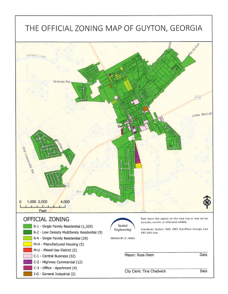 The Official Zoning Map of Guyton, Georgia